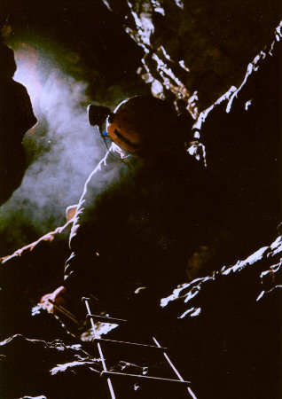 Roy Morgan on the first pitch, Ogof Fawr by Adrian Paniwnyk